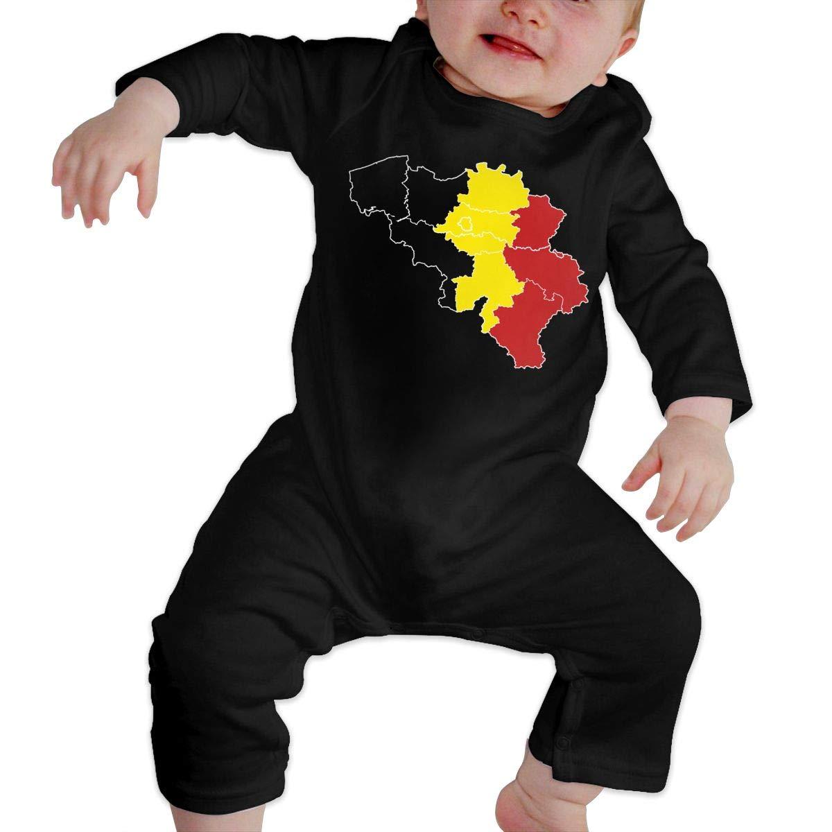 YUE--3BODY Belgium Flag Map Newborn Baby Long Sleeve Newborn Baby Bodysuit Onesies