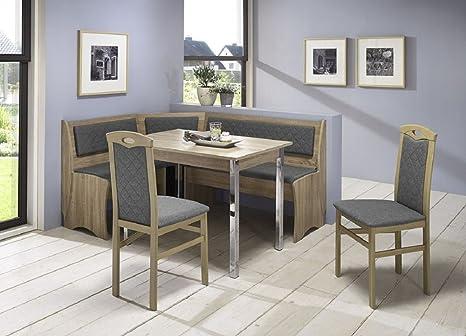 Beauty Scouts Senta Sonoma Oak Ii Corner Seating Set Chrome Grey Grey Brown Kitchen Dining Room Chair Solid Beech 4 Table Chest Amazon De Kuche Haushalt