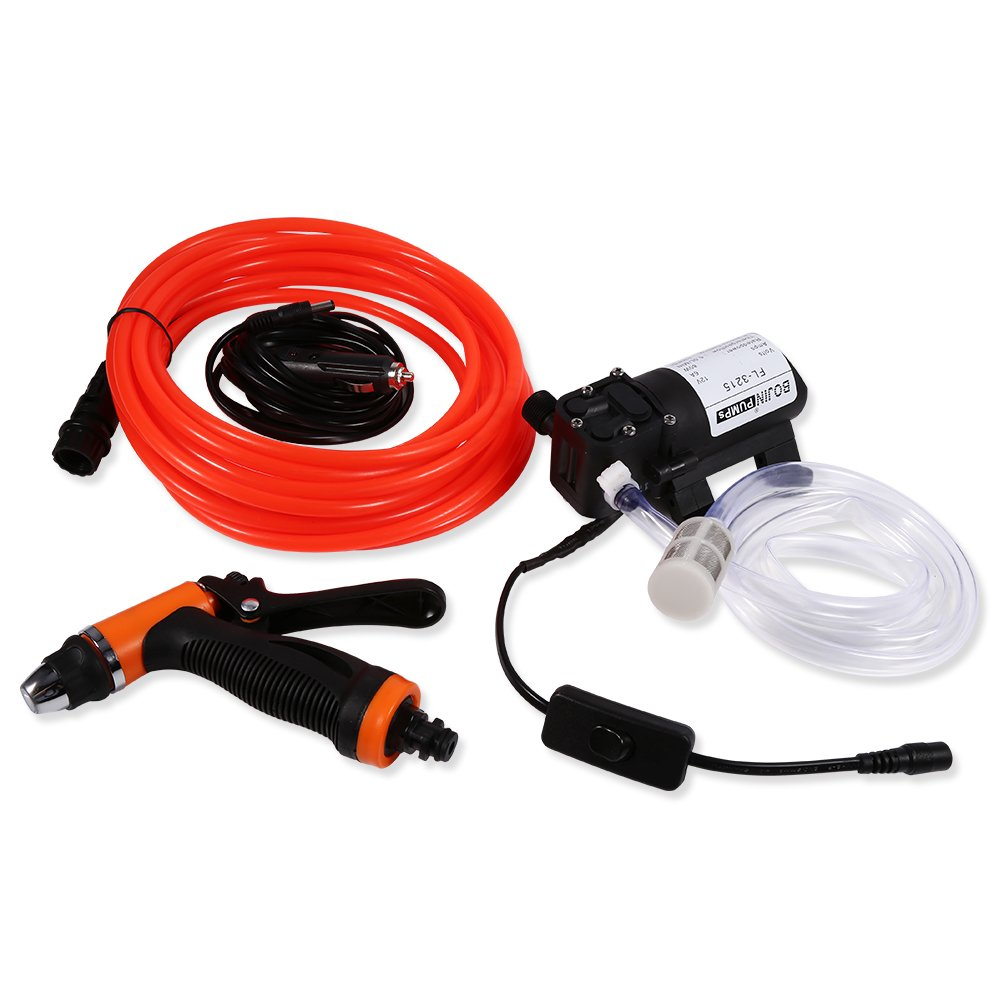 Electrical Car Wash Pump-12V DC Portable High Pressure Self-priming Quick Car Cleaning Water Pump Electrical Washer Kit for Watering Cleaning Home Car Use With Spray Hose Power Cord Input Hose by GOTOTOP (Image #2)