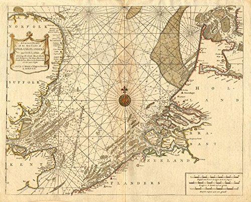 NORTH SEA coast chart. East Anglia Holland Flanders. MOUNT/PAGE/COLLINS - 1771 - old map - antique map - vintage map - North Sea maps (Collins Gallery)