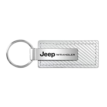 Jeep Wrangler Black Carbon Fiber Look Leather Key Chain