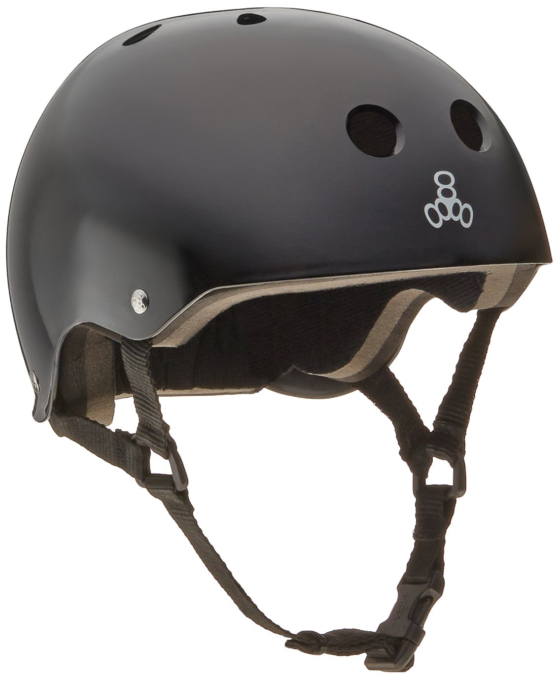 Triple 8 Brainsaver Glossy Helmet with Standard Liner (Black Gloss, Medium)