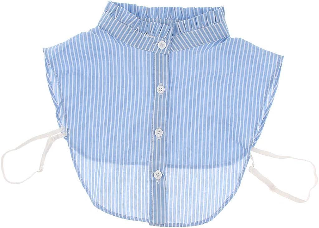 perfeclan Cuello Falso de Algodón Mitad Camisa Desmontable Rayadas para Mujer: Amazon.es: Ropa y accesorios