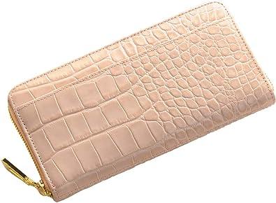 5ecc816ad0f5 クロコダイル 型押し イタリア製レザー 長財布 レディース ラウンドファスナー 真鍮金具使用 : ピンク