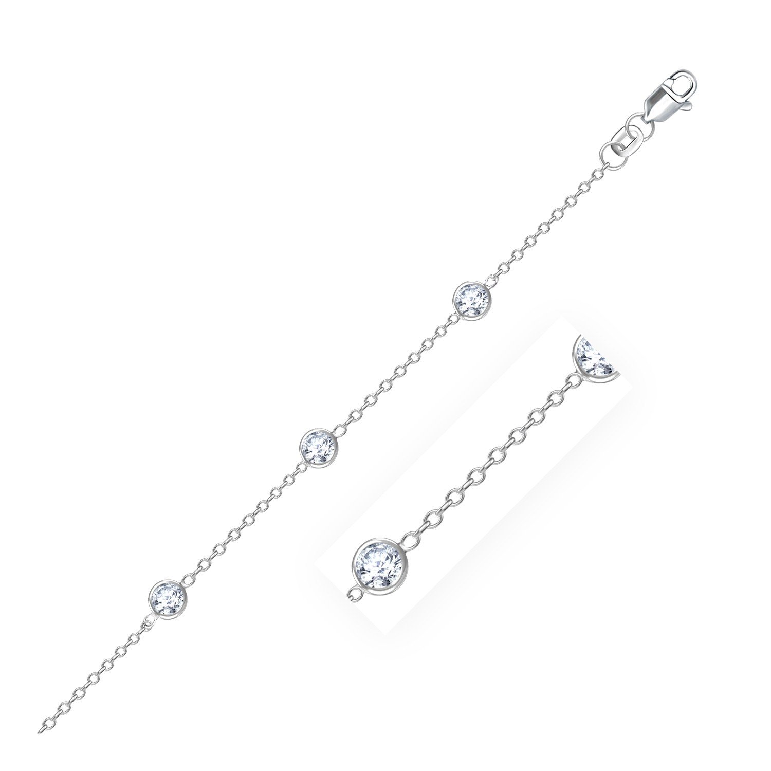 14K White Gold Anklet with Round White Cubic Zirconia