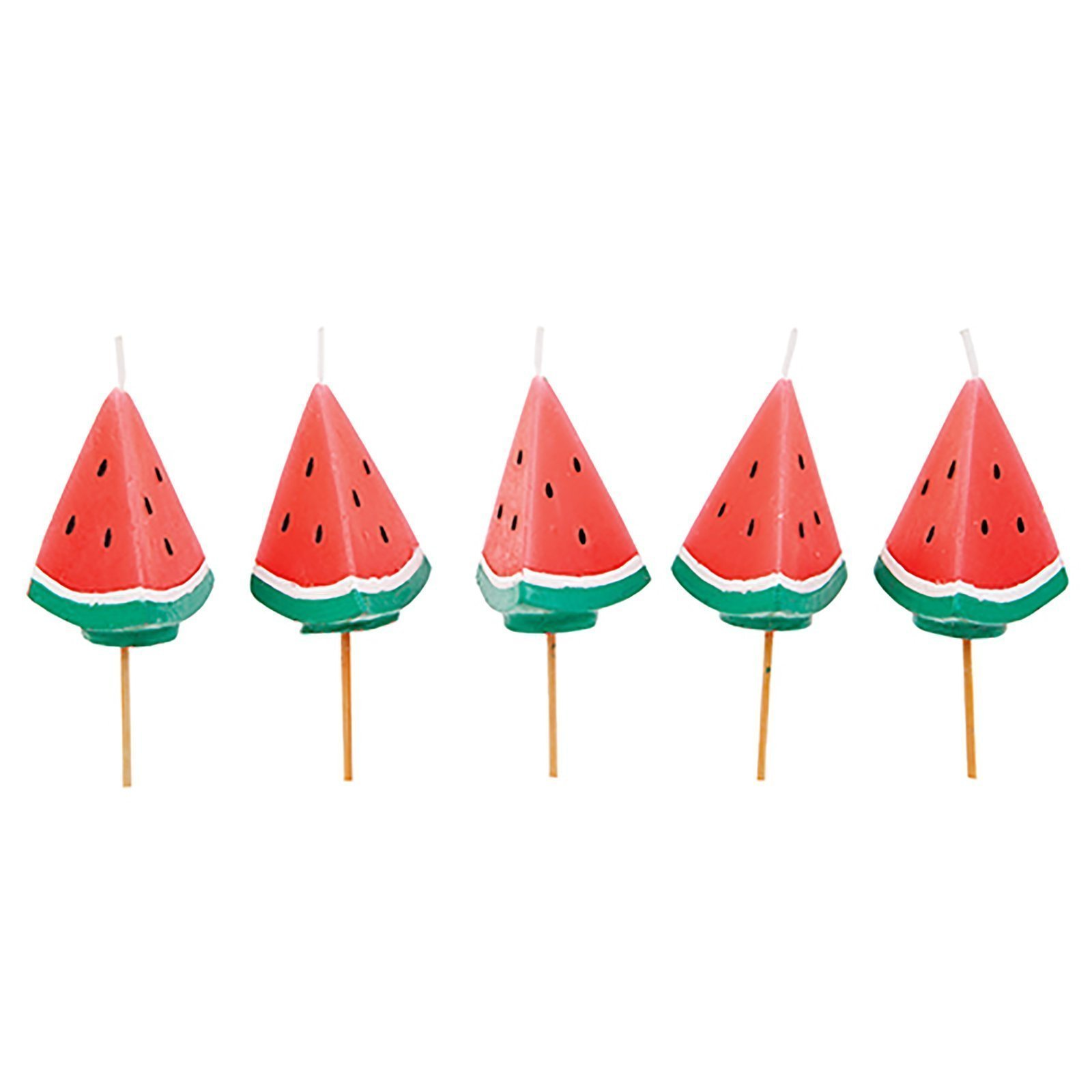 SunnyLIFE Themed Cake Candles in Animal, Plant, and Food Shapes, Set of 5 - Watermelon Red