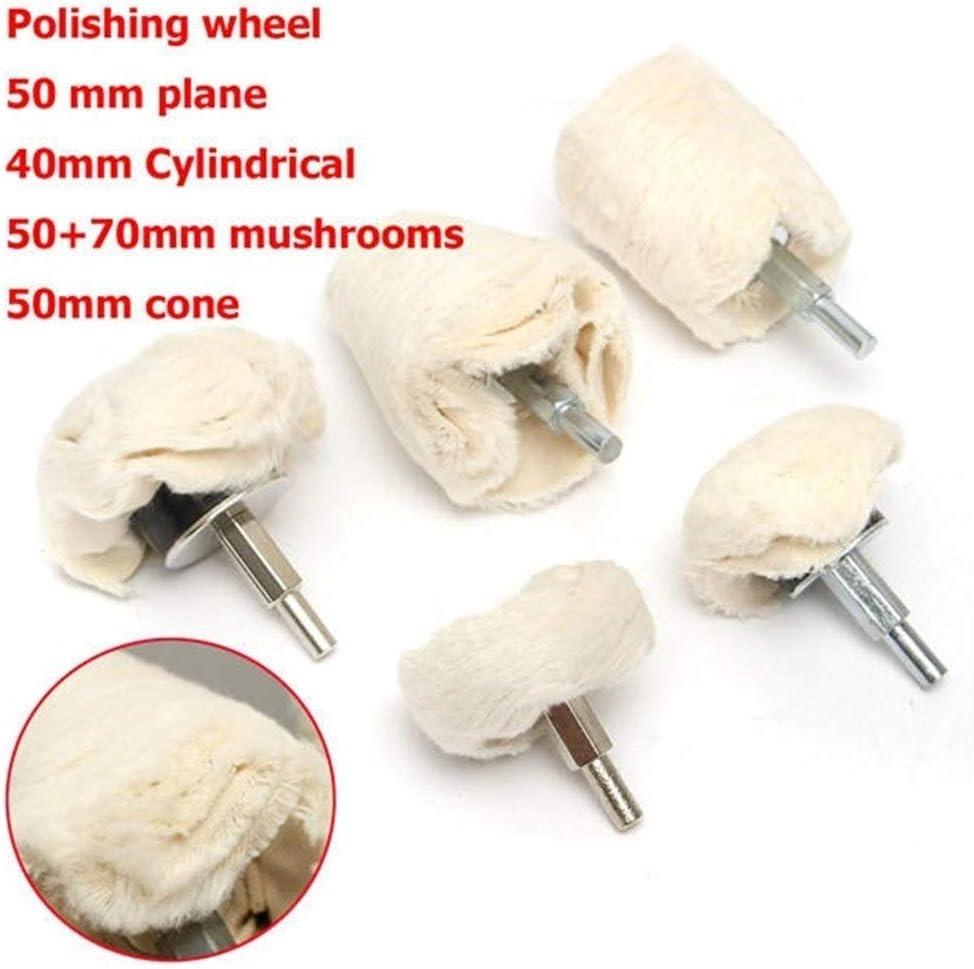 CHUNSHENN Abrasives 5pcs Plane Cylindrical Mushrooms Cone Wheel Polishing Wheel Buffing Pad Mop Kit tool Buffing Wheels