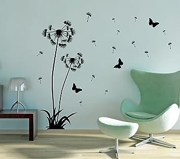 Wonderful Wandtattoo Pusteblume 2er Set 120cm + 160cm In Der Farbe Schwarz,  Wandaufkleber Wandsticker Wandbilder