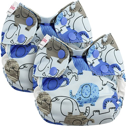 Blueberry Newborn Simplex All in One Cloth Diapers, Bundle of 2, Made in USA (Blue Elephants)