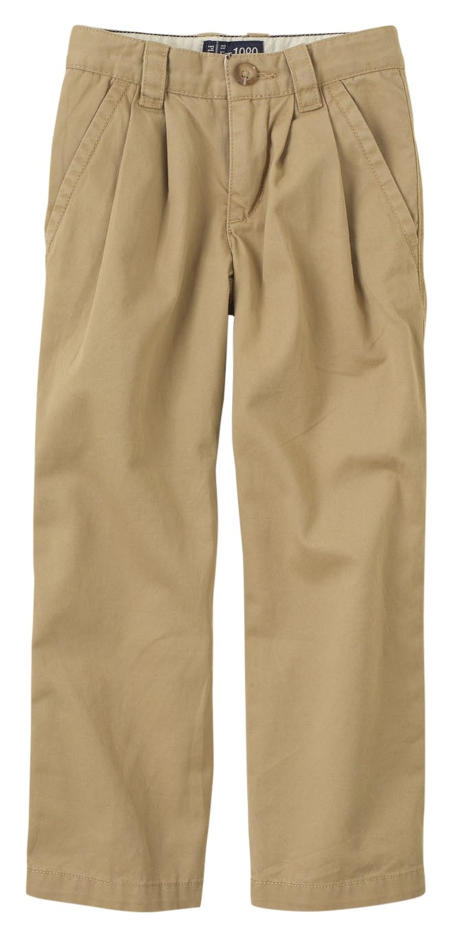 The Children's Place Boys Size His Pleated Chino Pants, Flax, 6 Slim
