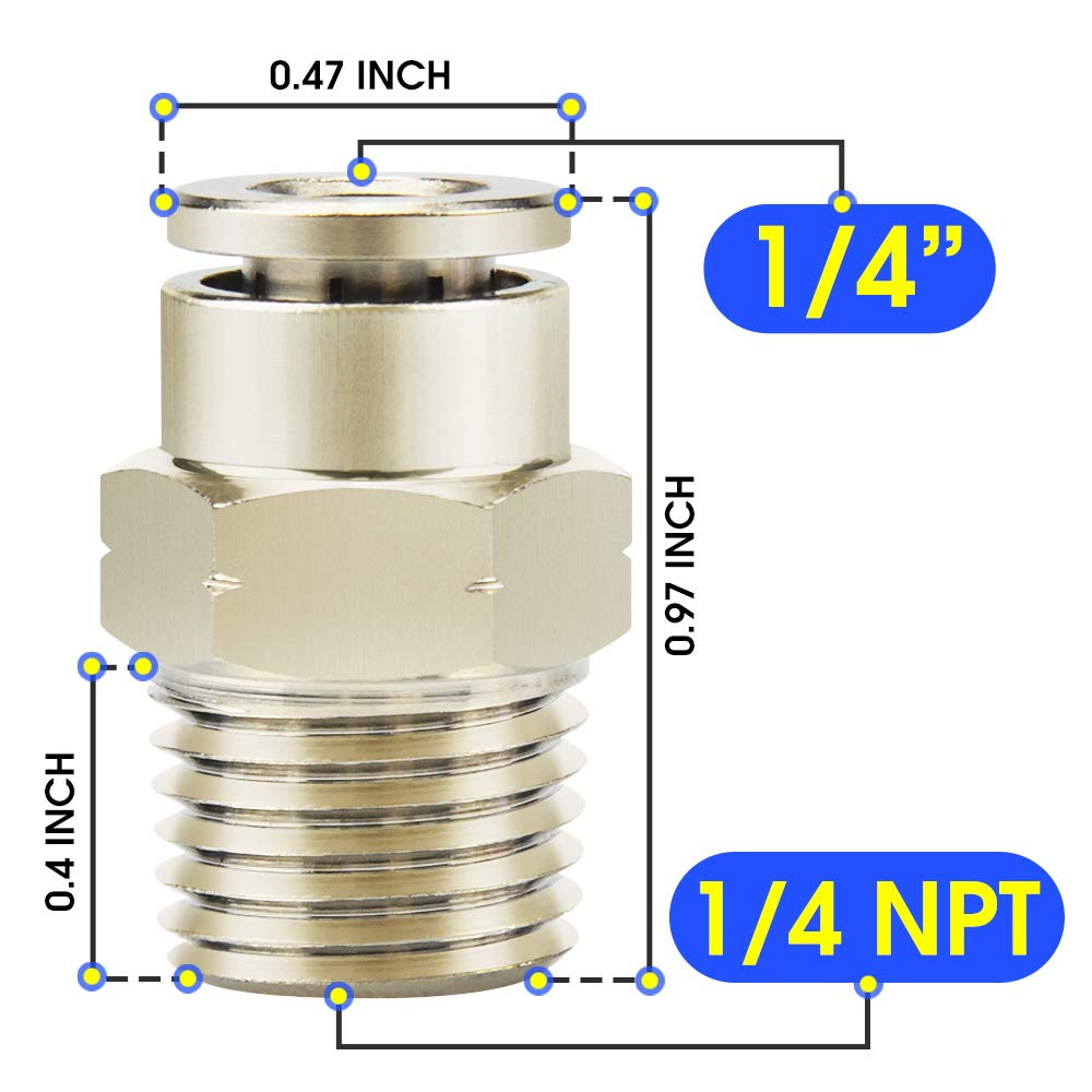 Pack of 10 Tailonz Pneumatic Male Straight 1//4 Inch Tube OD x 1//8 Inch NPT Thread Push to Connect Fittings Copper Nickel Plating TPC-1//4-N1