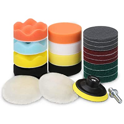 MATCC Polishing Buffing Pads Kits 3 Inch Buffing Polishing Wheel for Drill Polishers Buffer kit Scouring Pads Car Foam Drill for Sanding Glazing Polishing Waxing with Backing Pad: Automotive