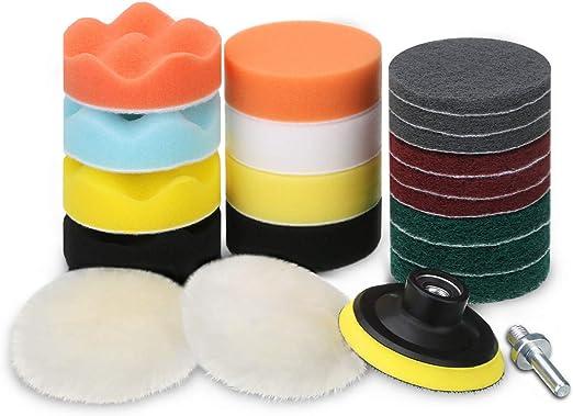 7pcs//set 3 Inch For Car Buffing Pad Kit Polishing Wheel Sponge pad Drill Adapter