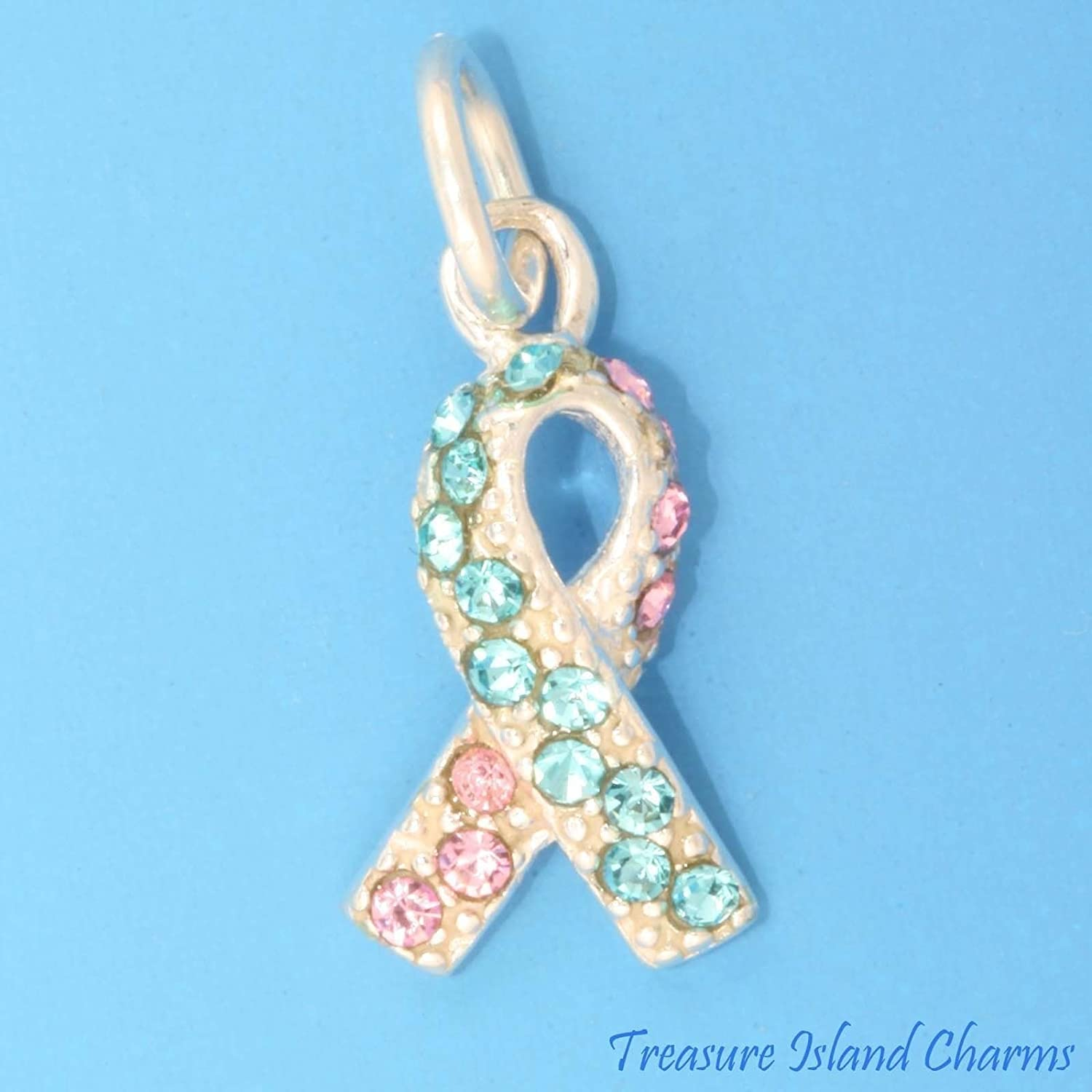 planes postre junio  Amazon.com: Infant Baby Loss Ribbon .925 Sterling Silver Charm Blue Pink  Swarovski Crystals Jewelry Making Supply Pendant Bracelet DIY Crafting by Wholesale  Charms