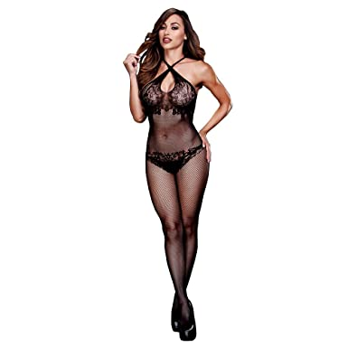 3c54823684 Amazon.com  Criss-Cross Fishnet and Lace Silhouette Bodystocking ...