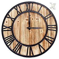 Large Metal Roman Numeral Quartz Wall Clock 16inches - Silent Sweep Non-ticking Decorative Retro Big Round Wooden Clock for Gift-Black 'Iron'(40cm in diameter)