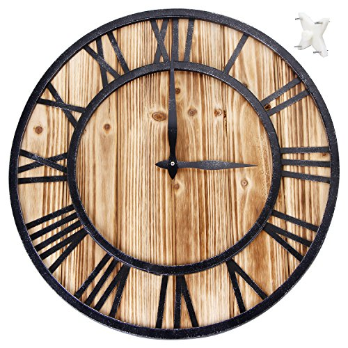 Large Metal Roman Numeral Quartz Wall Clock 16inches - Silent Sweep Non-ticking Decorative Retro Big Round Wooden Clock for Gift-Black 'Iron'(40cm in diameter)