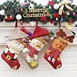 AnciTac Christmas Stockings Hanging Set 17'' Large Holiday Gift Bags, Bulk Stocking Kit for Xmas Tree or Fireplace Decoration(Type A)