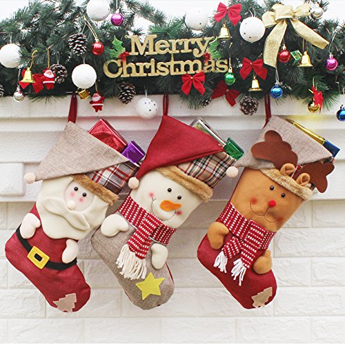 AnciTac Christmas Stockings Hanging Set 17'' Large Bags, Bulk Stocking Kit for Xmas Tree or Fireplace Decoration(Type A) by AnciTac (Image #1)