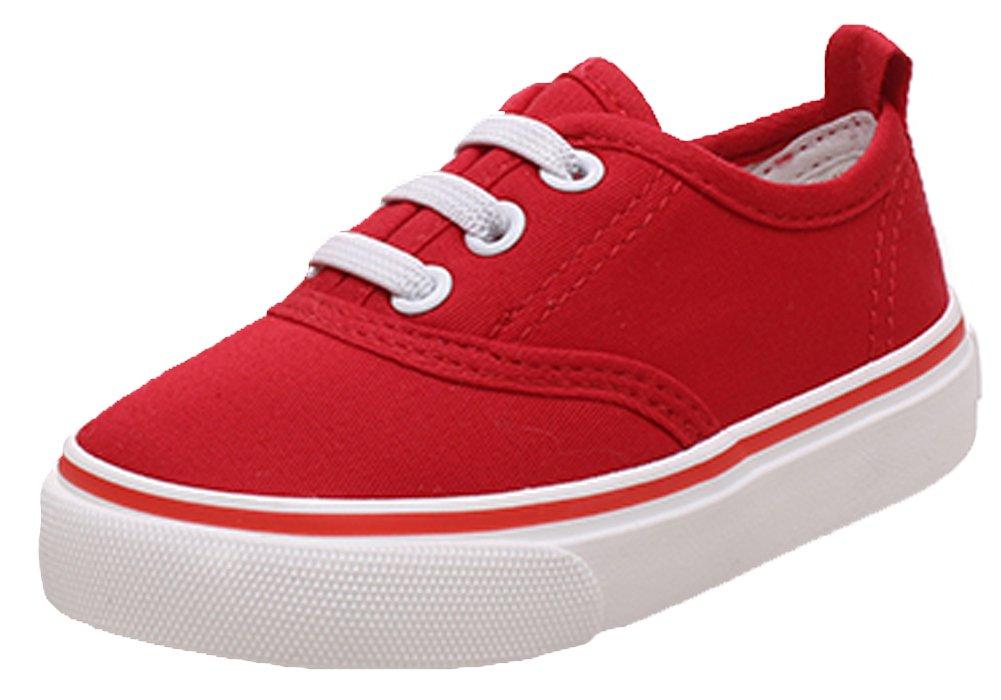 iDuoDuo Classic Kids Comfort Casual Elastic Slip On Low Top Sneaker Shoes Red 7 M US Toddler