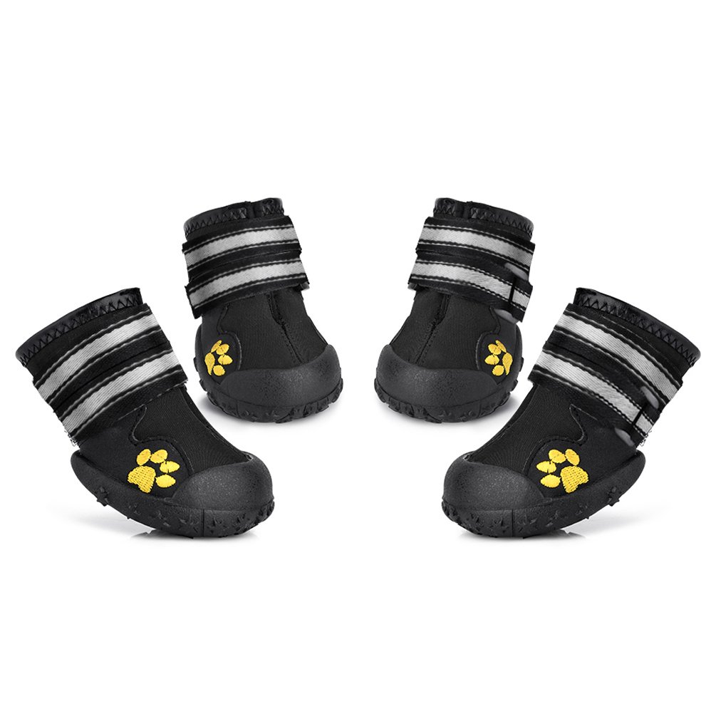 Black 4(2.5\ Black 4(2.5\ Petacc 4 Piece Dog shoes Waterproof Dog Boots Anti-Slip Snow Boots Warm Paw Predector for Medium Large Dogs Labrador Husky shoes (4(2.5 x1.9 ), Black)