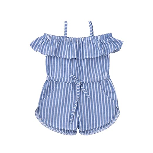 67ca8483561 Efaster Toddler Baby Girls Sleeveless Ruffles Striped Overall Jumpsuit  Pants Outfit (18M