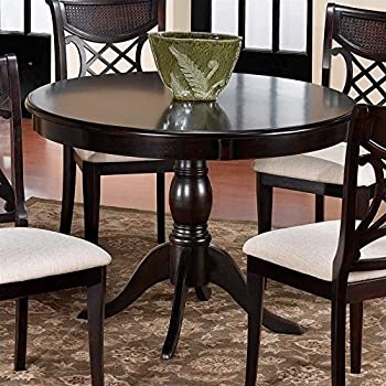 Good Traditional Dark Cherry Round Pedestal Dining Table
