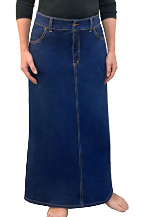 a8da5b83500d Kosher Casual Women s Modest Long A-Line Maxi Denim Skirt - No Slits at  Amazon Women s Clothing store