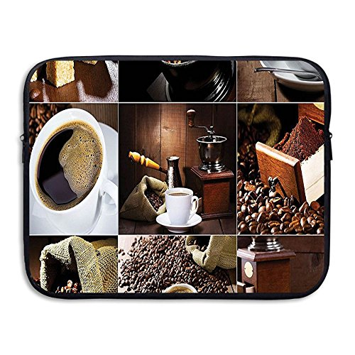XINSHOU Different Photos Of Coffee Mugs And Roasted Bean Bags Grinder Sugarcubes Collage Laptop Sleeve Case Bag Cover For 13-15 Inch Notebook Computer 15 Inch