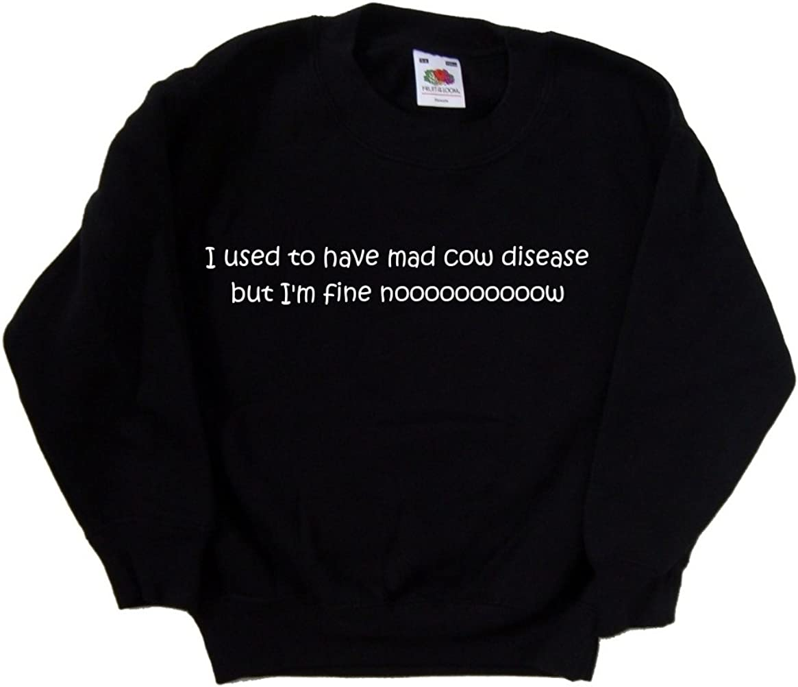 I used to have Mad Cow Disease but Im Fine Nooooooooow Funny Black Kids Sweatshirt