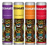 Eco Lips Mongo Kiss Mongongo Oil Lip Balm with Beeswax and Cocoa Butter, 4-Pack (Acai Berry/Banana/Blood Orange/Yumberry Flavors)
