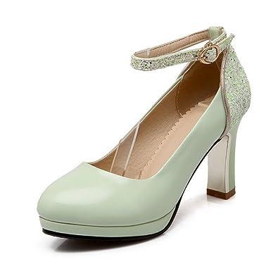 AgooLar Damen Blend-Materialien Rein Schnalle Rund Zehe Hoher Absatz Pumps Schuhe