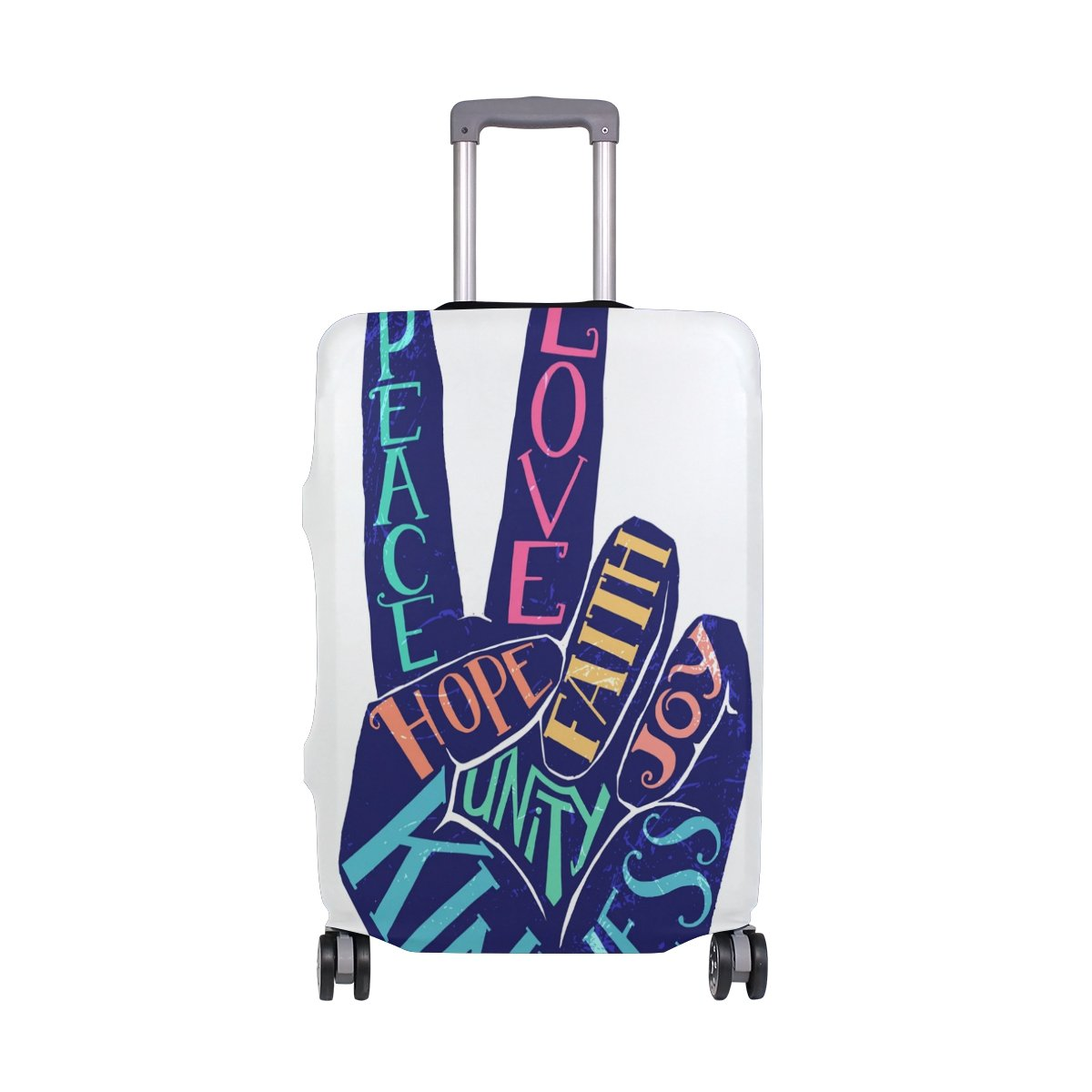 Cute Summer Love Peace Hippie Hope Joy Suitcase Luggage Cover Protector for Travel Kids Men Women