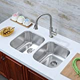 Decor Star P-009 31 1/4 Inch Undermount 50/50 Equal Double Bowl 18 Gauge Stainless Steel Kitchen Sink cUPC