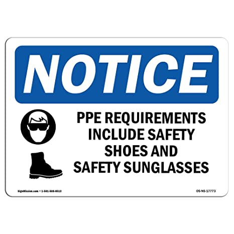 Amazon Osha Notice Signs Ppe Requirements Include Safety Sign