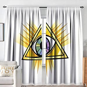 """NUOMANAN Rod Pocket Curtains Eye,Colorful Mystical Eye in a Yellow Triangle Truth Knowledge and Wisdom Themes,Marigold Purple Green,for Room Darkening Panels for Living Room, Bedroom 120""""x96"""""""