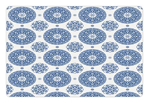 Ambesonne Vintage Pet Mat for Food and Water, French Country Style Floral Circular Pattern Lace Ornamental Snowflake Design Print, Rectangle Non-Slip Rubber Mat for Dogs and Cats, Blue White