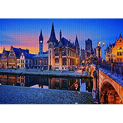 1000 Piece Large Jigsaw Puzzle Ghent Belgium Puzzles for Adults and Teens: Toys & Games