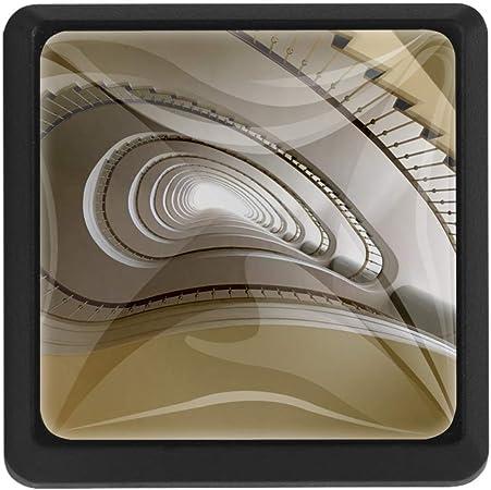 Escalera de caracol beige Pomos cuadrados para muebles Crystal Lens Form 3D Figura Exhibición para armario Armario Manija para decorar la habitación de los niños Sala de estar 3.5x2.8 cm 3 PCS:
