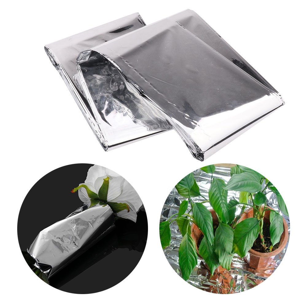 TiaoBug Silver Plant Reflective Film, 84 x 56 Inch Garden Greenhouse Covering Foil Sheets Effectively Increase Plants Growth T10052154-UK