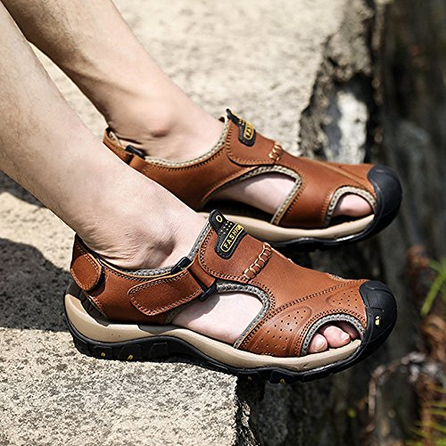 Fisherman Brown Hiking Shoes Walking Sports Mens Outdoor Sandals Athletics Beach Summer Leather CZSqxXnxPw