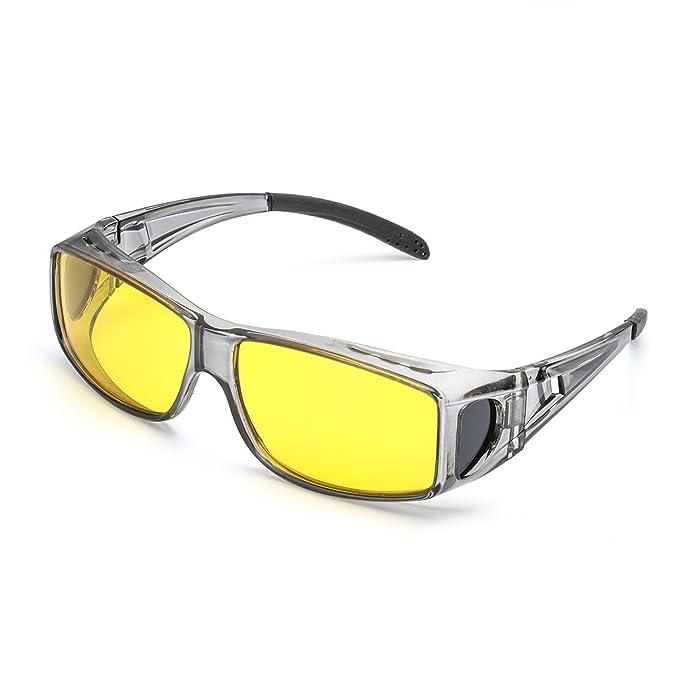 Grandes Gafas de Visión para Conduccion Nocturna Sobre Gafas Polarizadas Lente Amarilla Anti Reflectante - Protección 100% UVA & UVB