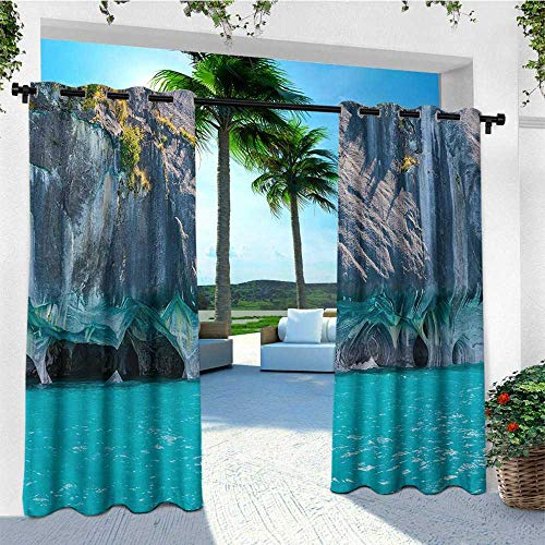 leinuoyi Turquoise, Outdoor Curtain Extra Wide, Marble Caves of Lake General Carrera Chile South American Natural, for Pergola W120 x L96 Inch Turquoise Purplegrey Green (Uv-carreras)