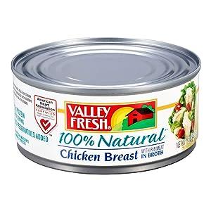 Valley Fresh 100% Natural, Chicken Breast in Broth, 10 oz