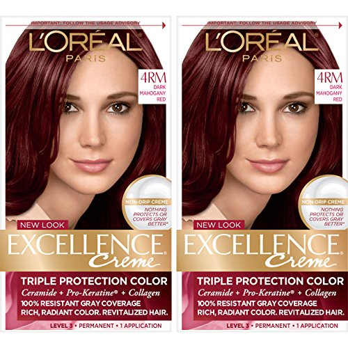 - L'Oréal Paris Excellence Créme Permanent Hair Color, 4RM Dark Mahogany Red, 2 COUNT 100% Gray Coverage Hair Dye