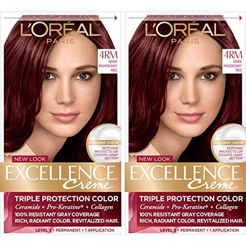 L'Oréal Paris Excellence Créme Permanent Hair Color, 4RM Dark Mahogany Red, 2 COUNT 100% Gray Coverage Hair Dye