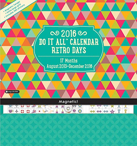 Orange Circle Studio 17-Month 2016 Do It All Magnetic Wall Calendar, Retro (Dec Write On Calendar)