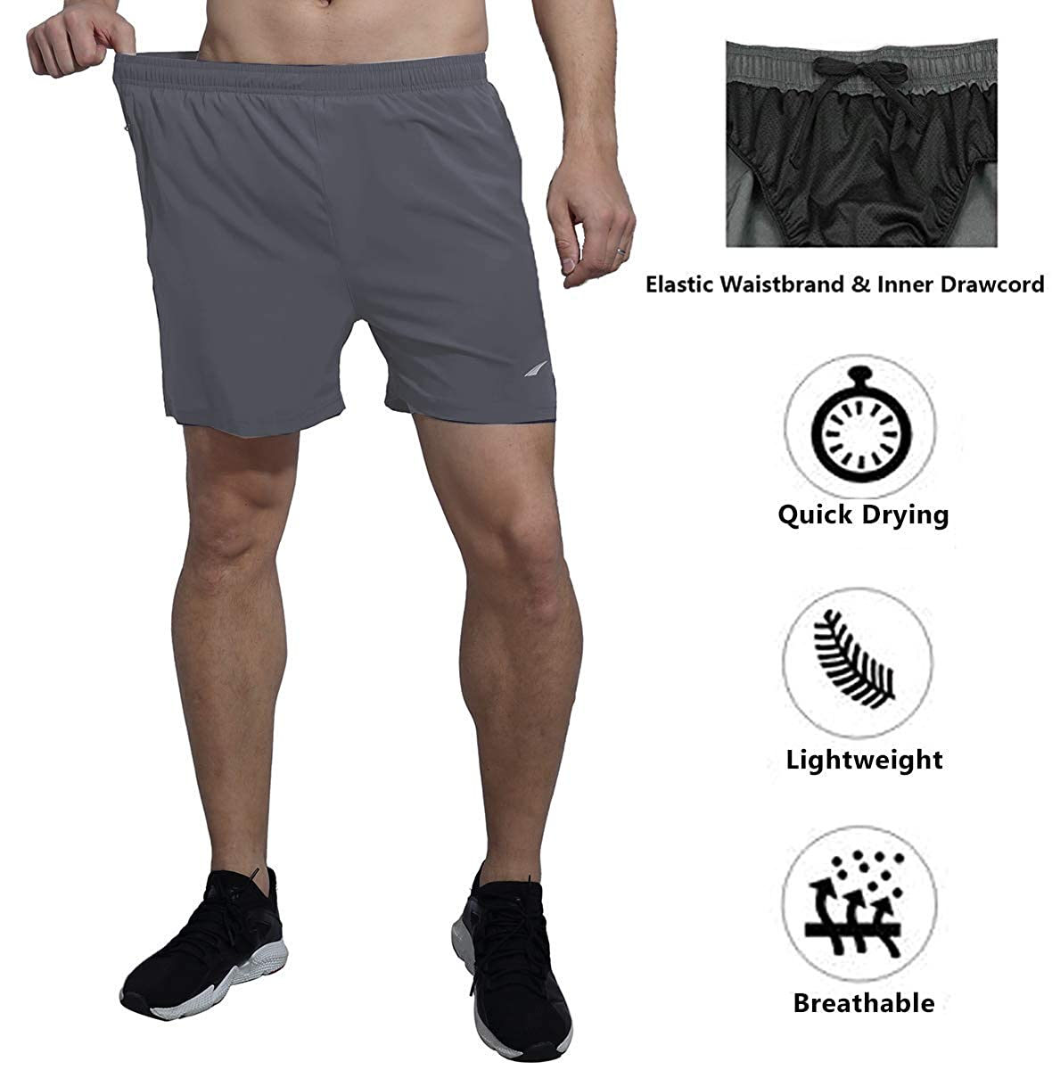 VAYAGER Mens Running Shorts 5 Inch Quick Dry Workout Athletic Performance Shorts with Liner and Zipper Pocket