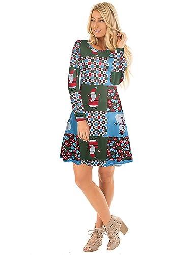 Vestito da swing di Natale variopinto della manica lunga delle ragazze delle donne di Ruiyige