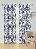 "GorgeousHome Dino 1pc Black Damask Pattern Design Room Darkening Thermal Blackout Window Curtain Panel, 37"" W x 84"" L"